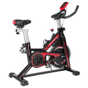 SONGMICS Heimtrainer mit verstellbarem Lenker Fitnessfahrrad Hometrainer Sitz und Widerstand Pulsmessung Pedale mit Fußkorb schwarz-rot SEB617R01