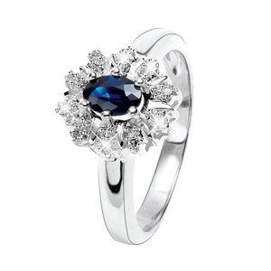 Weißgoldener Ring mit Diamanten und Saphir -  55