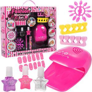 MalPlay Nagellack Set mit Nageltrockner | 14 Elemente | 14tgl Nagelset mit 5 Einfarbiger Nagellack Auf Wasserbasis und Zubehör | Geschenk Set für Mädchen | ab 6 Jahren