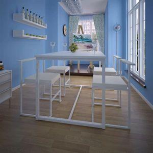 5-teilige Essgruppe Tisch + 4 Stühle Weiß
