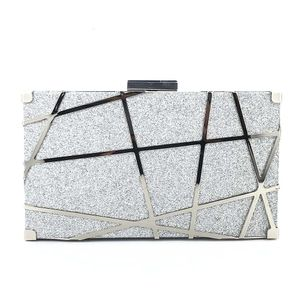 "7,5 ""Damen Abendtasche Clutch Geldbörsen Exquisite Metall Hollow Out Handtaschen, Silber"