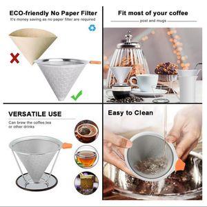 Edelstahl-Doppel-Kaffeefilter - Wabenform Klammer Abschnitt 115mm 115 mm wie beschrieben als Bild zeigen