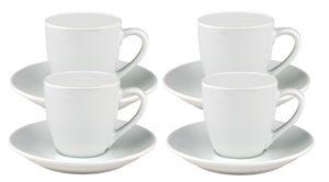 4er Set Espressotasse Bistro / Gloria 10cl mit Untertasse 12cm - klassisch - weiß - aus Porzellan
