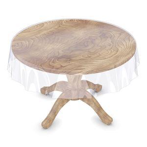 Klara Tischschutz Tischdecke Rund 120 cm Transparent PVC mit Saum