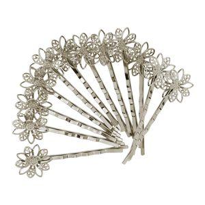 Strass Hochzeit Brautschmuck Braut Haarschmuck Blumen Haarklammer Haarnadeln Silber wie beschrieben