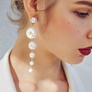 Elegant Lange Perlen Ohrringe Perlenohrringe Hochzeit Braut Ohrringe für Damen/Mädchen, Gold + Weiß 10cm Silber Tropfen / baumeln
