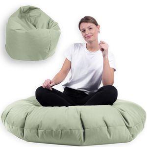 Sitzsack 2 in 1 mit Füllung Indoor Outdoor Sitzkissen 3 Größen Yoga Kissen BeanBag (100cm Durchmesser, Grau)
