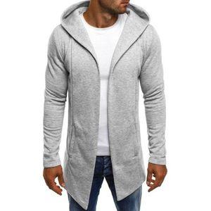 Männer Spleißen Kapuze Solid Trenchcoat Jacke Strickjacke Langarm Outwear Bluse Größe:XXXXL,Farbe:Grau