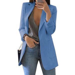 Mode Damen Revers Cardigan All-Match Temperament Blazer Schlanke Overalls Langarm Taschenknopf Blazer,Blau 5XL