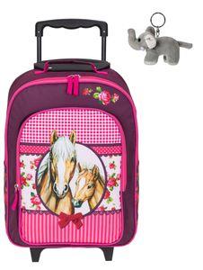 Kinderkoffer Mädchen Trolley Kindergepäck Kindertrolley Kinder Spielkoffer Fabrizio Horses 20620-2200 Pferde Rot-Rosa + Elefant-Anhänger
