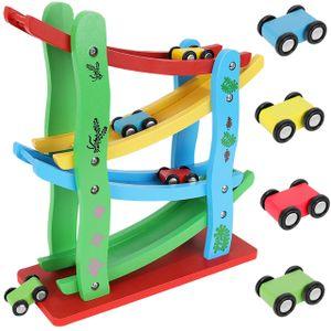 Autorennbahn aus Holz mit 4 Fahrzeuge Kugelbahn Auto Rennbahn Kinderspielzeug ab 3 Jahre 9349