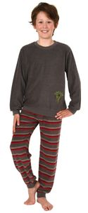 Jungen Frottee Pyjama langarm Schlafanzug mit Bündchen und Soccer - Fussball Motiv, Farbe:grau, Größe:158/164