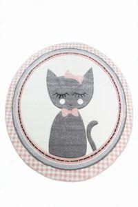 Kinderteppich Kinderzimmerteppich Babyteppich rund Katze in Rosa Grau Creme Größe - 160 cm Rund