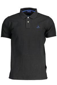 GANT Herren Kontrastkragen Pique Rugger Polo-Shirt, Schwarz S
