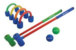 Schildkröt Soft Croquet Set, Krocket aus weichem Schaummaterial, fördert Konzentration und Geschick, auch für kleine Kinder, 2 Schläger (60cm lang), 4 Schaumstofftore, 2 Bälle Ø 5cm