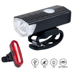 Wiederaufladbare Fahrradleuchte Fahrrad LED vorne hinten Lampenset