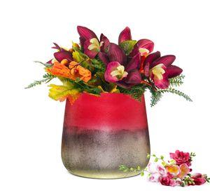 Blumenvase Barbara Tischvase Glasvase Dekovase Vase Blumentopf  Pflanztopf (Rot)