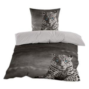 Renforce Bettwäsche 135x200 cm in Grau mit Leoparden