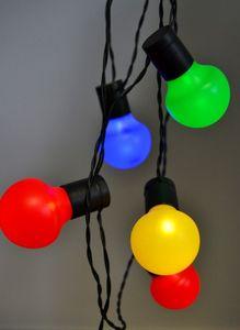 LED Partylichterkette 12,50m Bunte LEDs 50er Lichterkette Innen + Außen