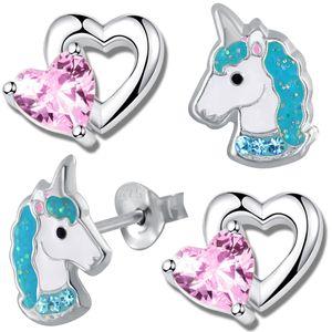 2x Kinderohrstecker echt 925 Sterling Silber Mädchen Kinder Ohrstecker Ohrringe Herz Einhorn Pferde K756+K710