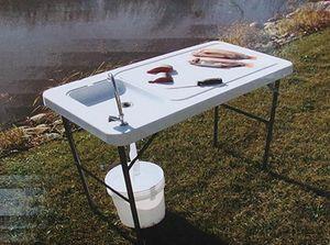 Campingtisch / Spültisch mit Spüle und Abfluss 115x60 cm