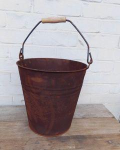 Stabiler Eimer Pflanztopf Blumentopf Bottich Kübel Eisen Rost D 28 cm