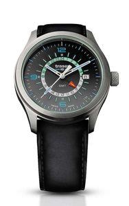 Traser H3 P59 Classic Aurora GMT Anthracite Tactical Watch Militär Armbanduhr Leder Armband