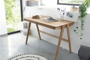 Schreibtisch Eiche massiv geölt Delia mit 2 Schubkästen