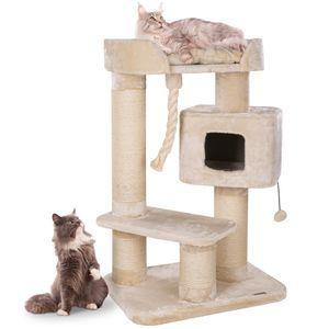 HAPPYPET massiver PREMIUM Kratzbaum stabil für schwere Katzen Maine Coon   15 cm dicke Sisalstämme   600g Plüsch   Exklusives Design   Spiel-Tau   Höhe 118 cm   GRAU