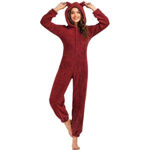 Frauen Fleece Pyjamas Niedliche Strampler Kapuze Reissverschluss vorne Fuzzy Warm Bodysuit Strampler Jumpsuit Nachtwaesche Weihnachten Homewear[Burgund-M]
