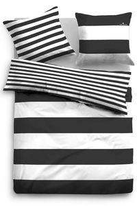 Tom Tailor Linon Bettwäsche Streifen 49769-821 schwarz, GRÖßENAUSWAHL:135x200 cm + 80x80 cm
