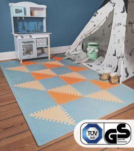 Hakuna Matte große Puzzlematte für Babys «Hygge» 1,8x1,2m – stylische Baby Spielmatte in Grau, Pfirsich, Orange