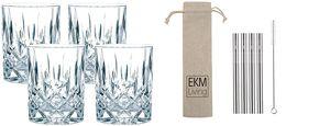 Spiegelau & Nachtmann, 4-teiliges Whisky/Longdrink-Set, Noblesse, 89207 + 4er Set EKM Living Edelstahl Strohhalme (Silber)