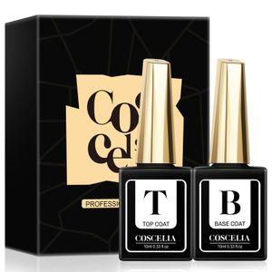 COSCELIA Top Coat Gellack 10ML Base Coat Top Coat UV Nagellack Base und Top Coat Kit mit Geschenk UV Nagelset Gelnägel Starterset 2 Flaschen