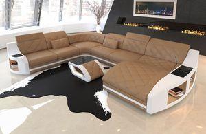 Wohnlandschaft Swing XXL, Farben:beige-weiß, Material:Kunstleder Premium, Sofa Ausrichtung Ottomane:Rechts - vor dem Sofa stehend, Bettfunktion:mit Bettfunktion