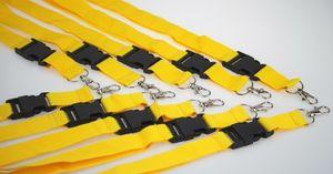 10 Schlüsselbänder gelb 25mm Lanyard Band Clip Karabiner