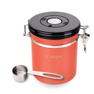 Schramm® Kaffeedose 1500 ml in 10 Farben mit Dosierlöffel Höhe: 15cm Kaffeedosen Kaffeebehälter aus Edelstahl , Farbe:Orange