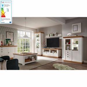 Komplett Landhaus Wohnzimmer-Set LINARES-61 in Pinie weiß / Wotan Eiche Nb. - Stellmaß Wohnwand: B/H/T ca.: 366/204/52cm