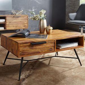 WOHNLING Couchtisch NISHAN 87 x 41 x 55 cm Sheesham Massiv Holz | Design Holztisch mit Stauraum und Schublade | Massivholztisch Wohnzimmer | Retro-Industrial Wohnzimmertisch mit Metallbeinen