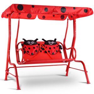 COSTWAY Kinder Hollywoodschaukel Kinderschaukel Gartenschaukel Garten Schaukel Gartenliege Schaukelbank Gartenbank mit Sonnendach 2-Sitzer Marienkaefer Rot