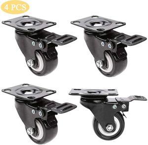 4 Stücke Strandkorbrollen, 360 Grad Rollen Räder Transportrollen Doppelrollen mit 4 Bremse Schwerlastrollen Geeignet für Strandkörbe, Möbel, Tragkraft 200 kg Last (Typ 2)