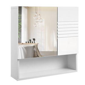 VASAGLE Spiegelschrank weiß aus Holz 54 x 15 x 55 cm fürs Bad Wandschrank Badschrank mit höhenverstellbaren Regalebenen sanft schließende Scharniere BBK21WT