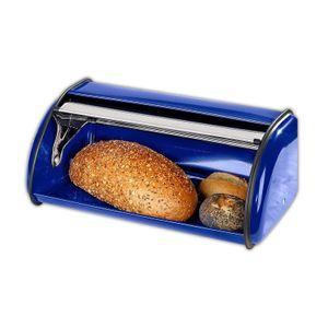 Edelstahl Brotkasten blau mit Lüftungslöcher Rollbrotkasten Brotbehälter Brotkiste Brotbox Design Brot Behälter Kasten Metall