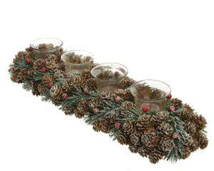 Adventsgesteck aus Zapfen länglich, mit Teelichter braun / rot