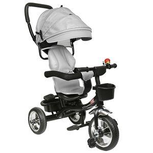 Kinderdreirad Dreirad 4 in 1 Sonnendach Kinderwagen Fahrrad Baby Kleinkinder Hellgrau