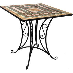 Wohaga® Mosaik Gartentisch 70x70cm Gestell Eisen / Platte Keramik
