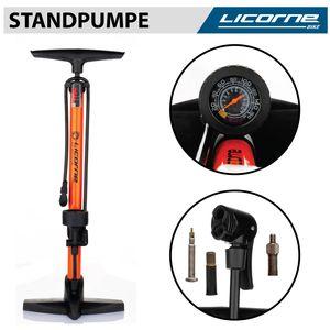 Licorne Bike Standpumpe, Standluftpumpe, Fahrradpumpe mit großem Manometer zur Druckanzeige, Dualkopf passend für alle Ventile (Dunlop Ventil, Französisches Ventil, Auto Ventil)