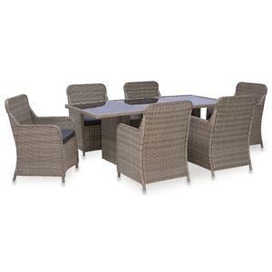 7-teiliges Outdoor-Essgarnitur Garten-Essgruppe Sitzgruppe Tisch + stuhl Poly Rattan Braun