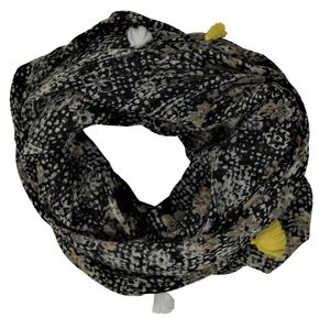 PIECES Damen Loop Schal, Schlauch Schal, Tuch, all over print, schwarz