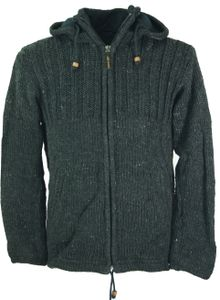 Strickjacke Wolljacke Nepaljacke Anthrazit - Modell 1, Herren, Schwarz, Wolle, Größe: S